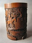 A well carved signed mid Qing Dynasty Bamboo Brush Pot