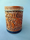 A extraordinary well carved Bamboo Brush Pot  Bitong