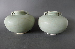 Pair of extra-large bluegreen Longquan Celadon jarlets