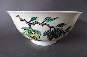 A Kangxi  famille verte biscuit-enameled incised bowl