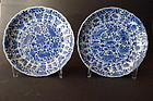 A excellent pair of Kangxi marked blue and white dishes