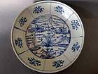 A Ming Swatow deep blue and white dish with cranes