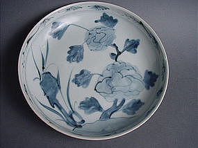 Korean Choson period rare blue and white dish