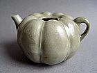 A rare Song Dynasty  Longquan Melon-shape Ewer
