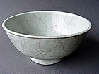 White late Ming Bowl with Guan like crackled glaze