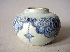 Early Ming Dynasty blue and white jarlet !