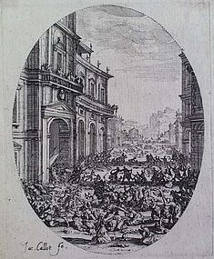 Original 1622 CALLOT etching MASSACRE of INNOCENTS