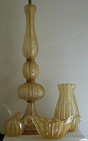 Vintage Cordonato Oro Glass Lamp by Ercole Barovier