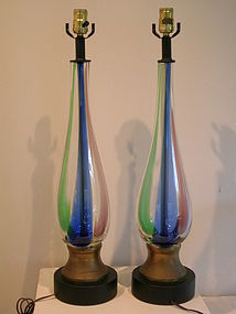 Modern Lamps Pair attr. to Fulvio Bianconi for Venini
