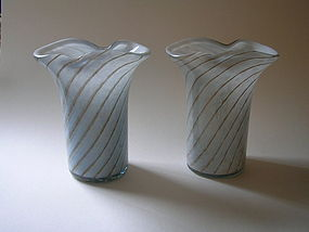 Blue Opalino glass vase pair by Fratelli Toso