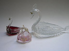 19th century Venetian Glass swans by Fratelli Toso