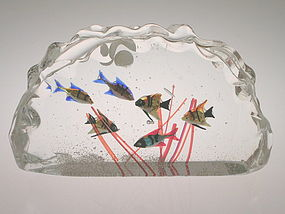 Vintage Murano glass Aquarium with labels