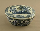 Chinese Porcelain Nanking Butter Tub Rooster Circa 1800