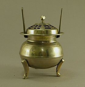 Korean Brass Incense Burner Circa 1900