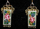 Antique 14k Gold Swiss Enamel Earrings c.1820 Rare Fab