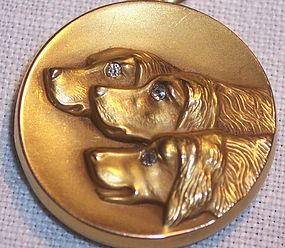 Fine Art Nouveau 10 k Gold Locket Dogs Diamonds