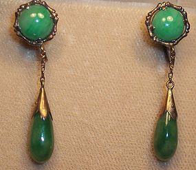 Antique Chinese 14k Gold Jade Jadeite Earrings Dangle
