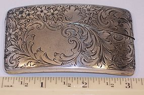 Antique Solid Sterling Hand Engraved Scroll Card Case