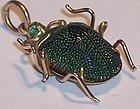 14k Gold Enamel Scarab Bug Pendant Egypt Antique