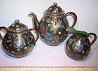 Japanese Cloisonne Enamel Teaset Pot Pitcher Bowl