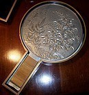Japanese Pewter Mirror & Fitted Black Lacquer Box c1920