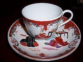 Japanese Porcelain Imari Arita Cup/Saucer c.1850