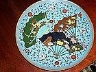 "Japanese Cloisonne Enamel 12"" Charger Plate Fan Motif"