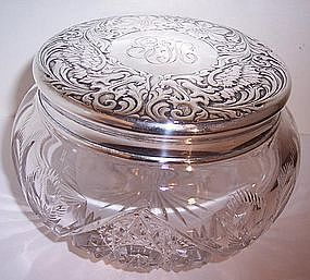 Antique Sterling & Cut Glass Powder Dresser Jar Nouveau