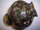 Intricate Japanese Cloisonne Enamel Vase Takaramono
