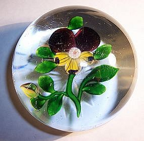 Antique Baccarat Crystal French Paperweight Pansy 1850