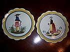 Pair Charming  Henriot Quimper Faience French Plates