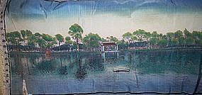 Antique Chinese Silk Weaving Beautiful Lake Scene