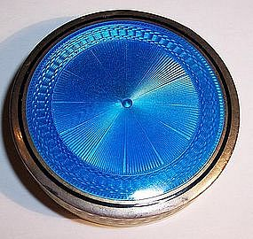 Antique French Guilloche Enamel Sterling Compact Box