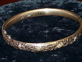 Antique 10k Solid Gold Bangle Bracelet Diamond