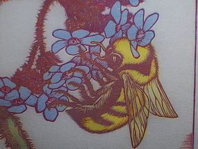 "Woodblock Print ""Bombus on Acacia"" James D.Havens"