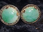 Fine 14K Solid Gold & Jade Cufflinks Signed Ming