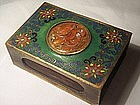 Chinese Cloisonne  Match Box Holder Carnelian Carving