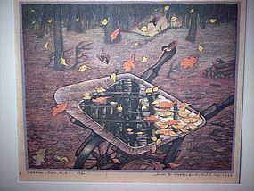 "James D. Havens ""Barrow-Fall"" Woodblock Print 1953"