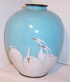 Antique Japanese Cloisonne Vase Mint Egrets Sgnd