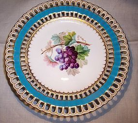 Antique English Minton China Compote Hp Grapes 1860 Item