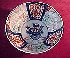 Antique IMARI BOWL with FLOWERS and HOTEI