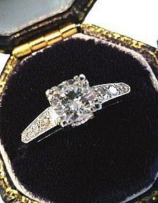PLATINUM & DIAMOND ENGAGEMENT RING HALF CT CENTER STONE