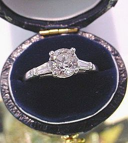 PLATINUM DIAMOND ENGAGEMENT RING .95 CARAT DIAM