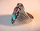 Ster NATV AMERICAN TURQUOISE GENTS RING{R.TOM