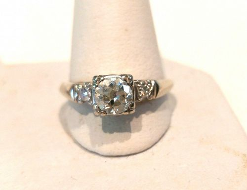 PLATINUM DIAMOND ENGAGEMENT RING wSAPPHIRE ACCENTS