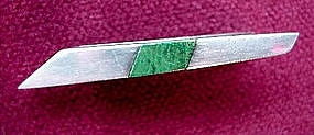 Signed ANTONIO SILVER & MALACHITE TIE BAR