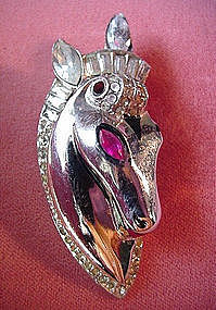 STERLING COROCRAFT HORSEHEAD CLIP {RS wEnamel
