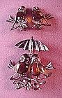 FIGURAL BIRDS RETRO BROOCH & EARRING SET Ster