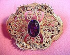 Antique FILIGREE AMETHYST PIN { 1900