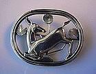 BEAUTIFUL GEORG JENSEN DEER PIN CA.1920 DOTS LOGO #256